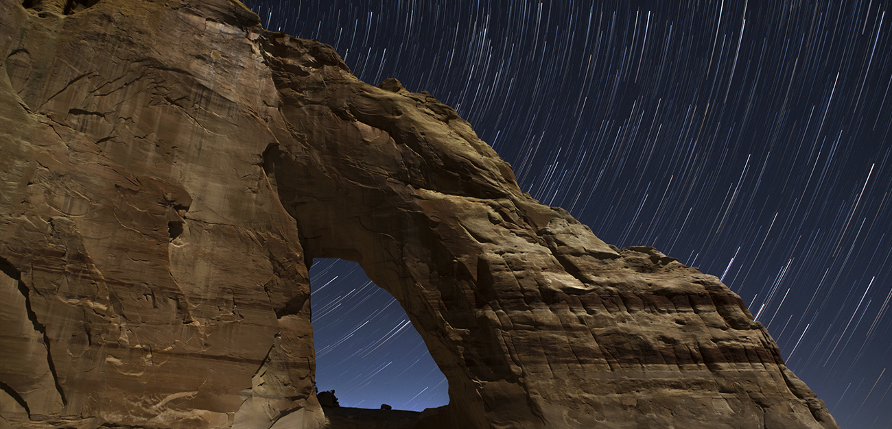 White Mesa Arch at night, Arizona