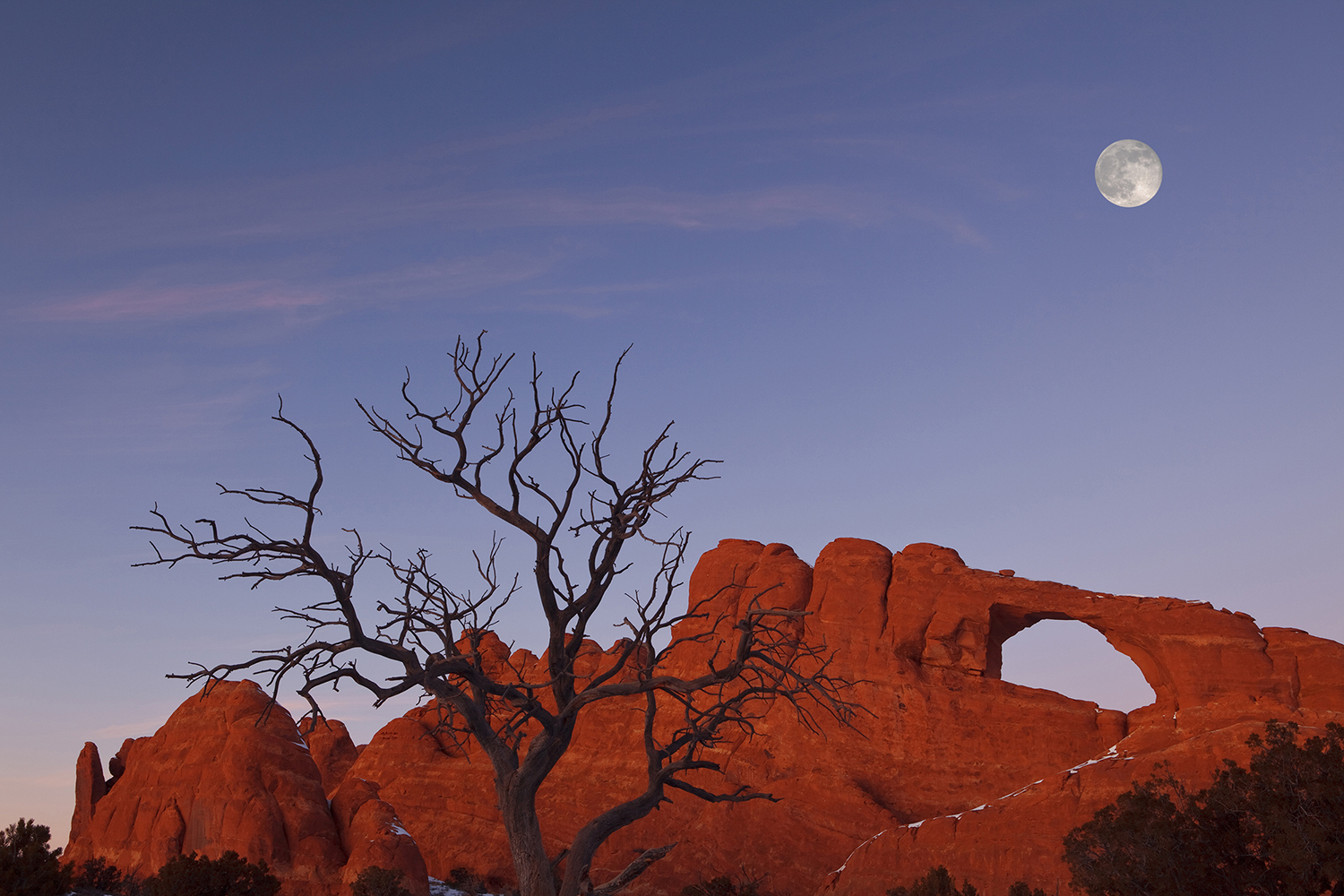 Skyline Arch and Full Moon, Arches National Park, Moab, Utah, USA