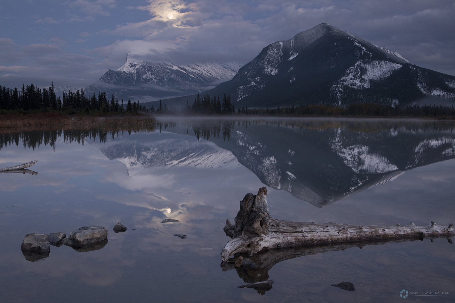 Vermillion Lakes lit by Moonlight, Banff Canada