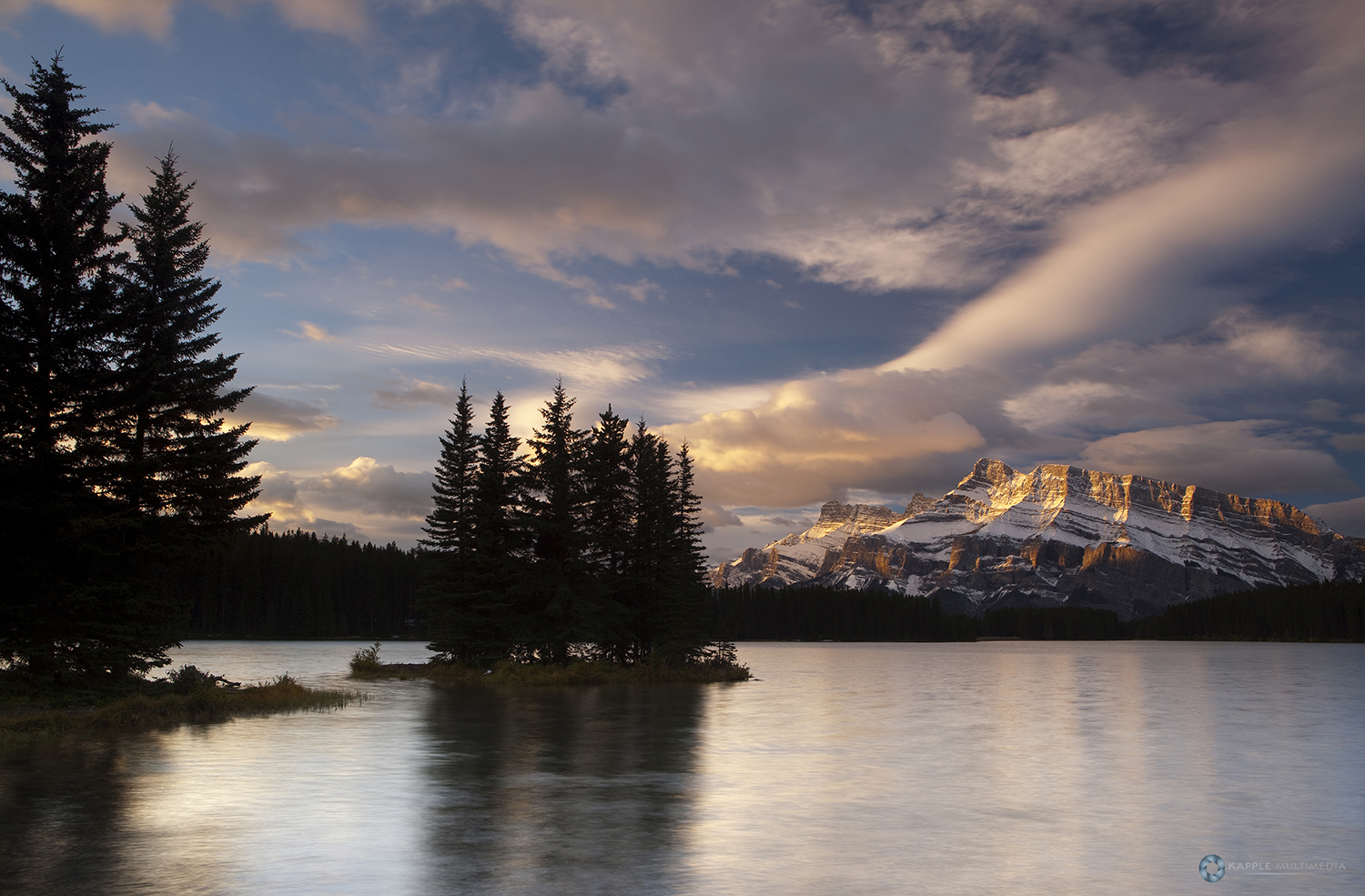 First light during sunrise at Two Jack Lake, Banff, Canada