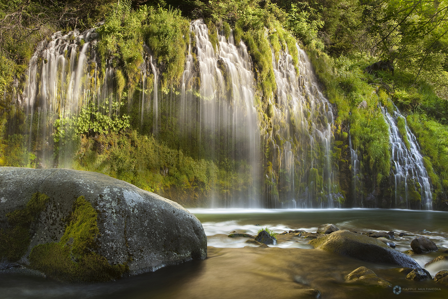 Evening warm light at Mossbrae Falls, Shasta National Forest, California, USA