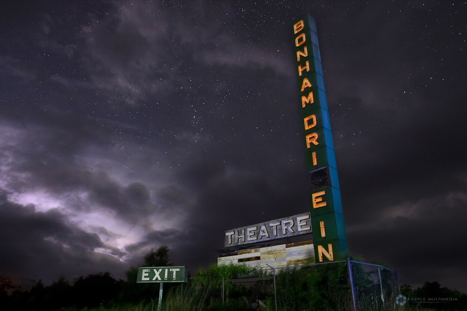 Abandoned old Drive in movie theater at night, East Texas